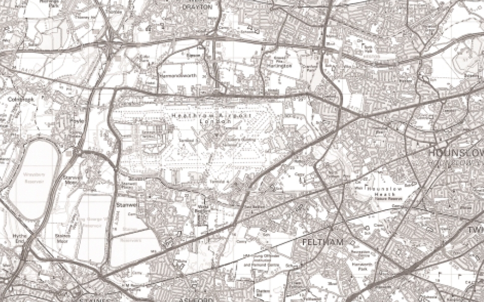 Figure 1. Map of Heathrow Airport and the surrounding areas. (Based upon Ordnance Survey maps