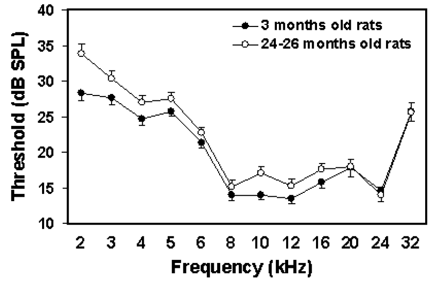 Figure 1. Mean auditory [brainstem (inferior colliculus)-evoked potentials] thresholds obtained from young (n = 50) and aged Long-Evans rats (n = 52) before exposure. The young rats were 3 months old, and the aged rats were 25 months old. Half of the confidence intervals (95%) have been left out in the interest of clarity.