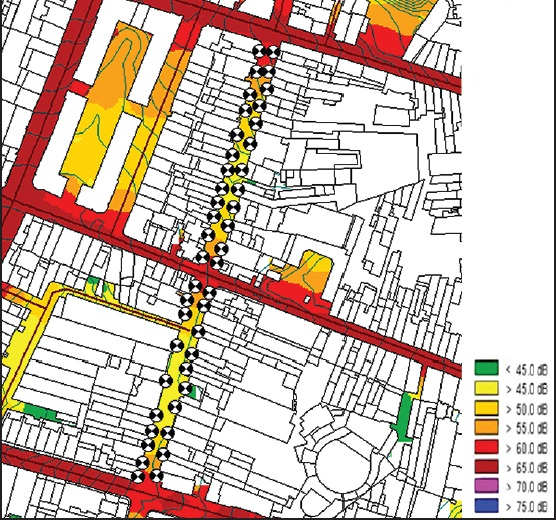 Figure 5: Urban soundscape - Work - Façades of commercial buildings evaluated and their noise map in non-exposed area, Santa Catarina Street. Porto, Portugal, 2012