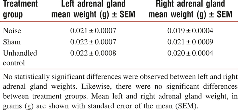 Table 1: Effects of noise on left and right adrenal gland weight after adjusting for body weight