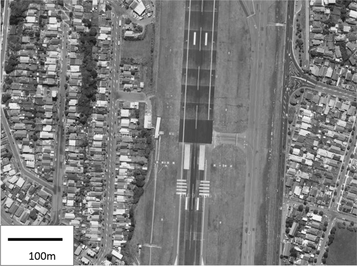 Figure 1: Wellington International Airport runway and nearby dwellings
